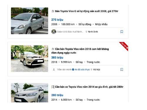 Xe ô tô cũ giá 300 triệu đồng đang được bán trên thị trường